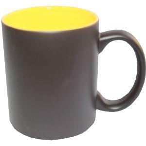 Кружка керамическая хамелеон внутри желтая