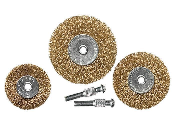 (74488) Набор щеток для дрели, 3 шт., 3 плоские, 25-38-50 мм, со шпильками, металлические// MATRIX
