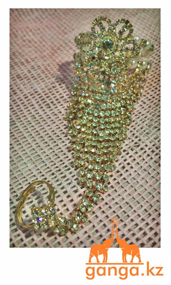 Браслет с кольцом на цепочке для руки, Золотистый со стразами - фото 2