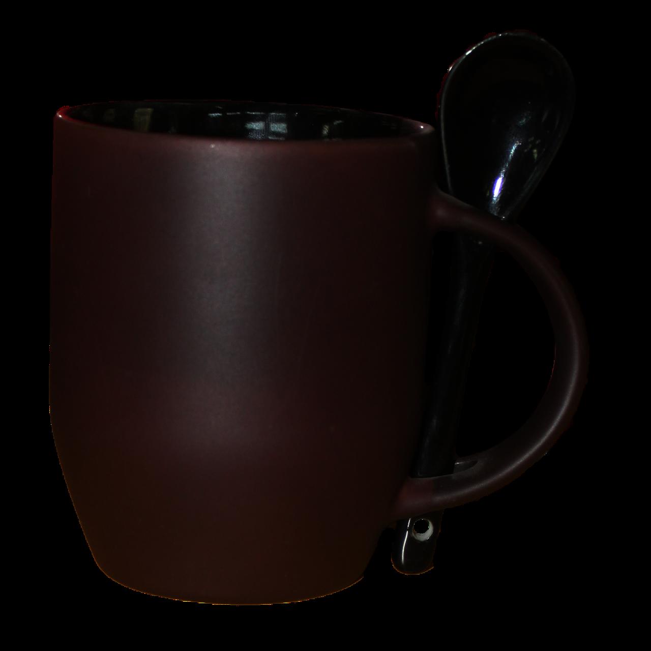 Кружка керамическая  хамелеон с ложкой черная