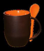 Кружка керамическая хамелеон с ложкой оранжевая