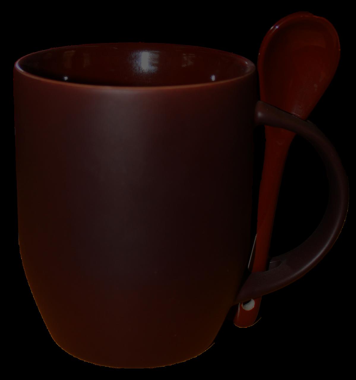 Кружка керамическая хамелеон с ложкой коричневая