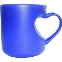 Кружка керамическая хамелеон синий ручка сердце