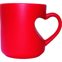 Кружка керамическая хамелеон красная ручка сердце