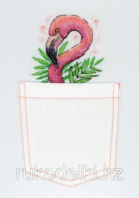 """Набор для вышивки на одежде """"Розовый фламинго"""""""
