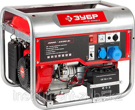Бензиновый генератор с электростартером, 4500 Вт, ЗУБР, фото 2