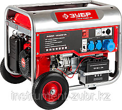 Генератор бензиновый, ЗУБР ЗЭСБ-5500-ЭН, 4-х тактный, ручной и электрический пуск, колеса + рукоятка, 5500/5000 Вт, 220/12 В