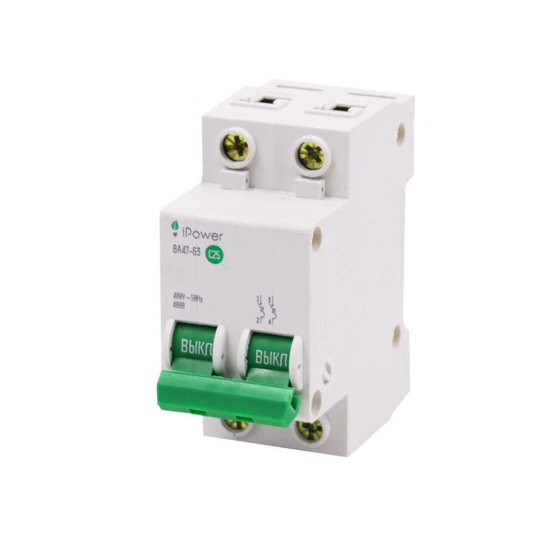 Автоматический выключатель реечный iPower ВА47-63 2Р 25А