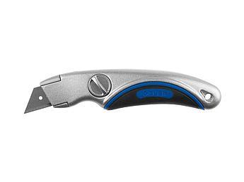 """(09221) Нож ЗУБР """"ЭКСПЕРТ"""" универсальный, метал обрезиненный корпус, фиксированное трапециевидное лезвие"""