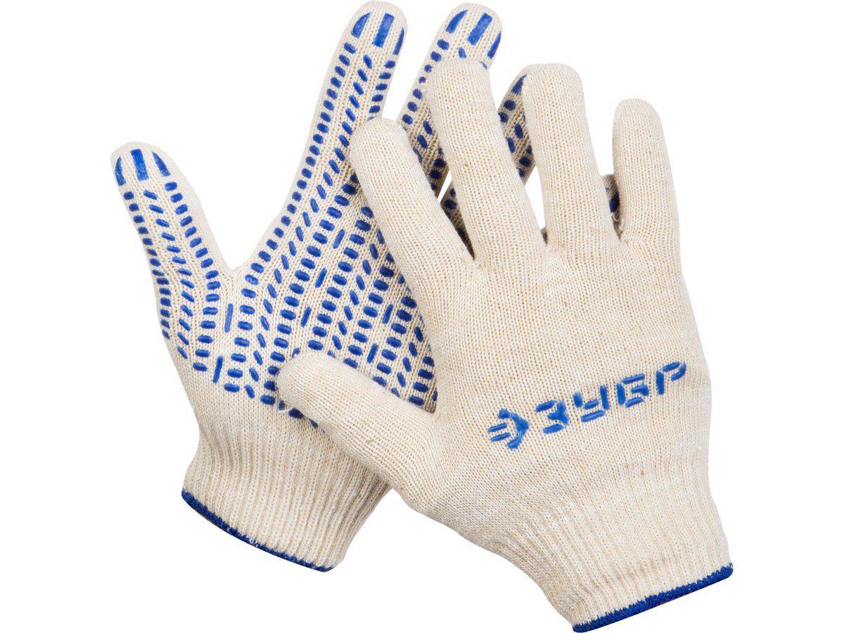 """(11451-XL) Перчатки ЗУБР """"ЭКСПЕРТ"""" трикотажные, 12 класс, х/б, с защитой от скольжения,L-XL"""