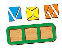 Рамка-вкладыш WOODLAND Сложи квадрат 3 квадрата, уровень 2, фото 1