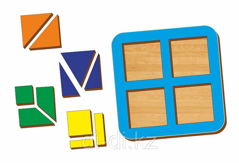 Рамка-вкладыш WOODLAND Сложи квадрат 4 квадрата,  уровень 1