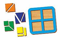 Рамка-вкладыш WOODLAND Сложи квадрат 4 квадрата,  уровень 1, фото 1