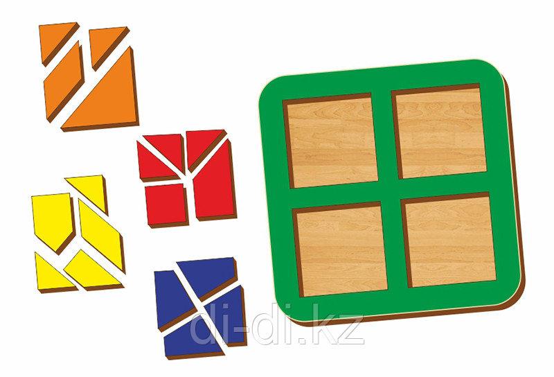 Рамка-вкладыш WOODLAND Сложи квадрат 4 квадрата, уровень 3
