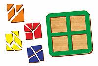Рамка-вкладыш WOODLAND Сложи квадрат 4 квадрата, уровень 3, фото 1