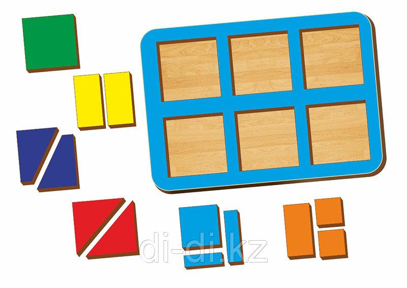 Рамка-вкладыш WOODLAND Сложи квадрат 6 квадратов, уровень 1