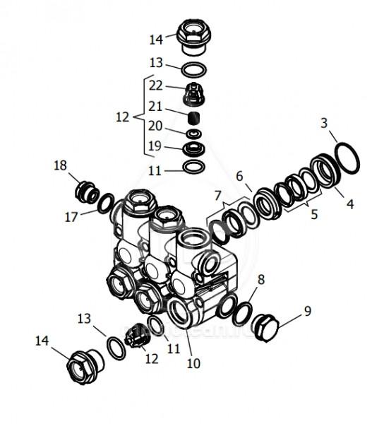 Корпус насоса в сборе hawk (nmt1220r, nmt1520r, nmt1820r, nmt2120r)