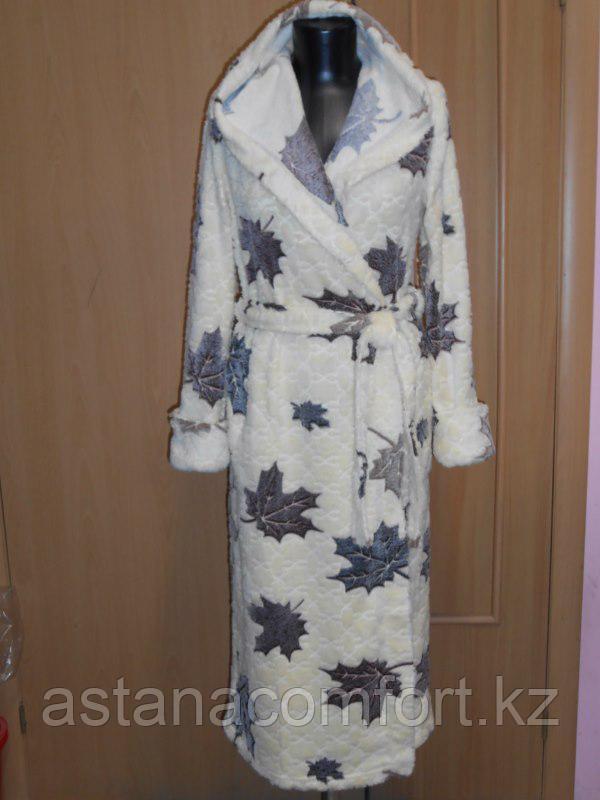Длинный теплый женский халат с капюшоном. Велбсофт. Россия.