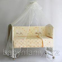 Комплект в кроватку PITUSO ЗАЙКИ 6 предметов Кремовый