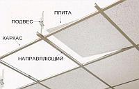Потолок армстронг не моющиеся 8-12 мм сосредним каркасом 595-603 мм