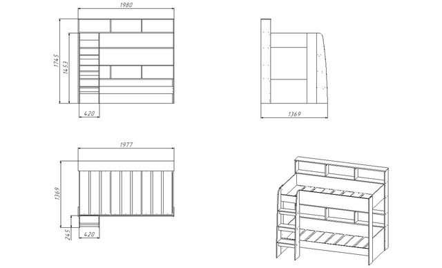 Двухъярусная кровать Polini Simple