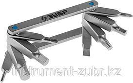 """Набор ЗУБР """"ЭКСПЕРТ"""": Ключи имбус,универс,складные,Cr-V,сатинир покрытие,суперкомпактный,HEX,TORX,PH №1,SL 5мм,8-в-1"""