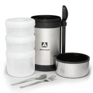 Термос пищевой с 3-мя контейнерами + ложка и вилка