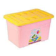 Ящик для игрушек на колесах c аппликацией, с крышкой, Бытпласт 4313068