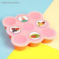 Контейнер пищевой силиконовый для хранения детского питания, 9 секций, цвета МИКС