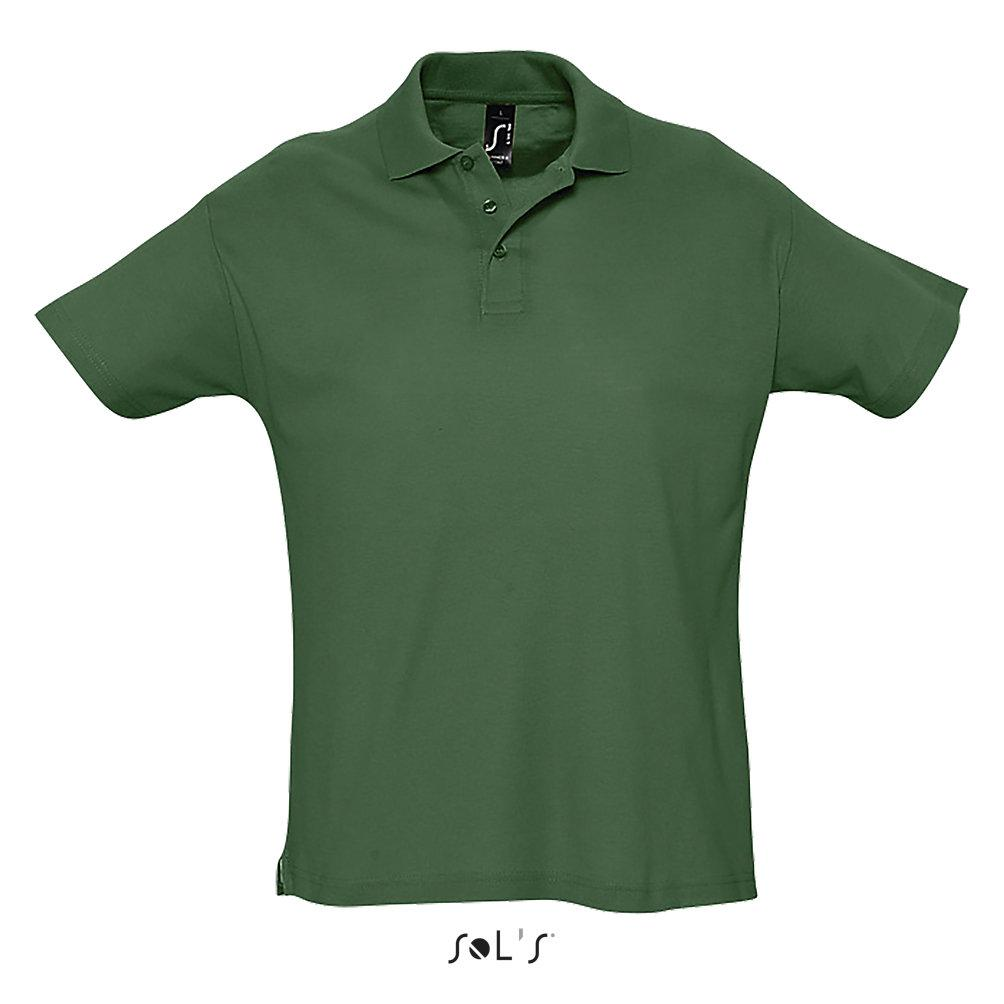 Футболка Поло Sols Summer ll XL, темно-зеленая