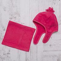 Комплект зимний для девочки (шапка и шарф-снуд), размер 54, цвет розовый W47102, фото 1