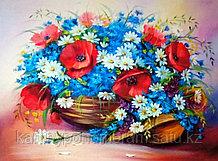 "Картины по номерам ""Корзина цветов и шляпка 30х40"""