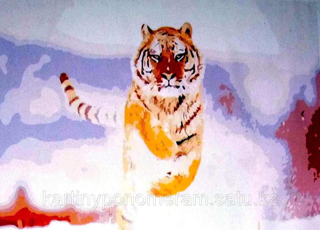 """Картины по номерам """"Прыжок тигра 30х40"""""""