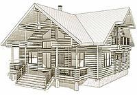Одноэтажный проект дома из бруса