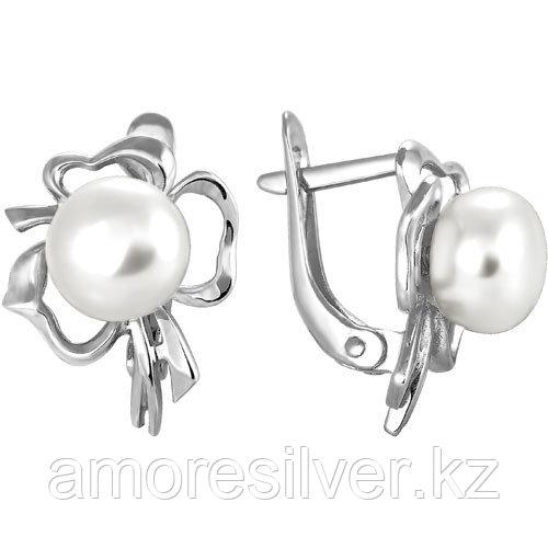 Серебряные серьги с жемчугом и фианитом   Teosa 290-5-351