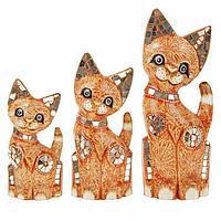 """Сувенир дерево """"Кошки с зеркальными вставками"""" оранж набор 3 шт h=25, 30, 40 см, фото 1"""