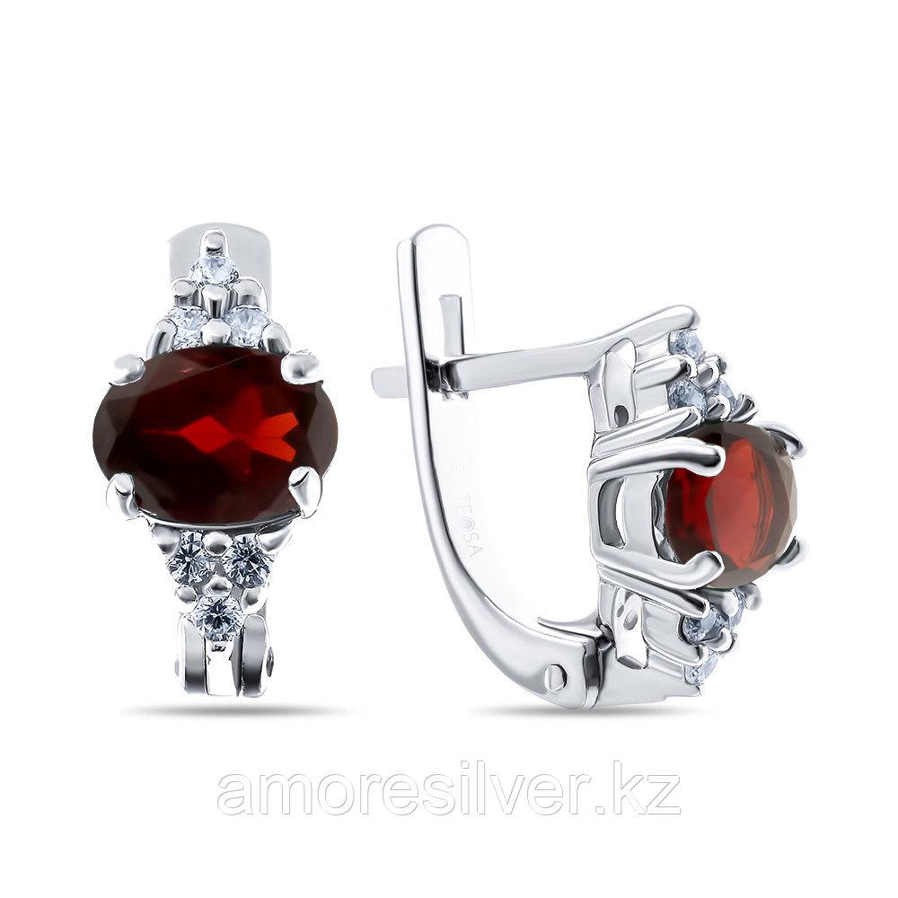 Серебряные серьги с гранатом и фианитом   Teosa 0150-E-GR