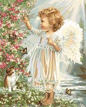 """Картины по номерам """"Ангелочек у цветущего куста 30х40"""""""