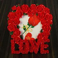 """Фоторамка полистоун 10х15 см """"Сердце из роз LOVE"""" 16х15,5 см, фото 1"""