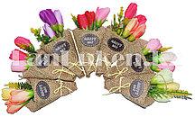 Сувенирный магнит букет тюльпанов Happy Day в ассортименте