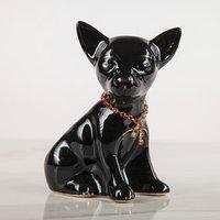 Сувенир 'Собака Чихуахуа с ошейником', 14,5 см, глянец, чёрный