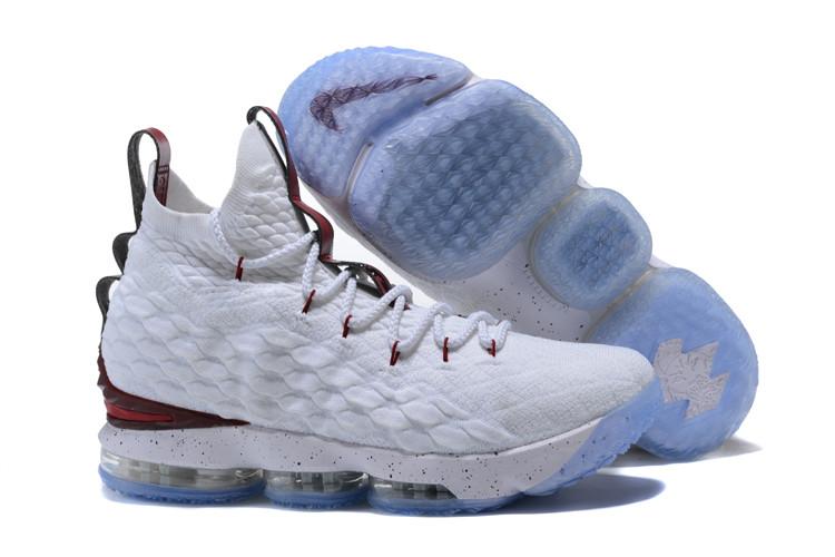 """Баскетбольные кроссовки Nike LeBron XV (15) """"White/Burgundy"""" (40-46)"""