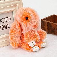 Зайчик-брелок из натурального меха 16х10 см оранжевый с белым отливом