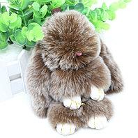 Зайчик-брелок из натурального меха 14.5х8 см коричневый с белым отливом