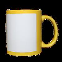 Кружка керамическая желтая белый прямоугольник
