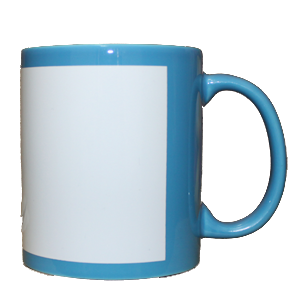 Кружка керамическая голубая белый прямоугольник
