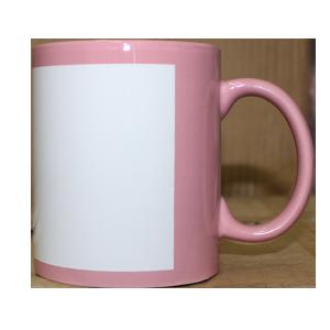 Кружка керамическая розовая белый прямоугольник