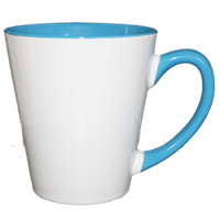 """Кружка керамика Латте """"внутри и ручка голубая"""" 12oz"""