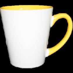 """Кружка керамика Латте """"внутри и ручка желтая"""" 12oz"""