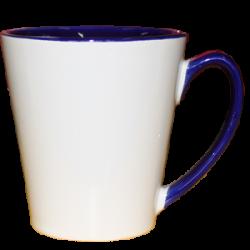 """Кружка керамика Латте """"внутри и ручка синяя"""" 12oz"""